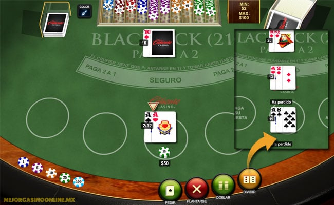dividir cartas en el blackjack